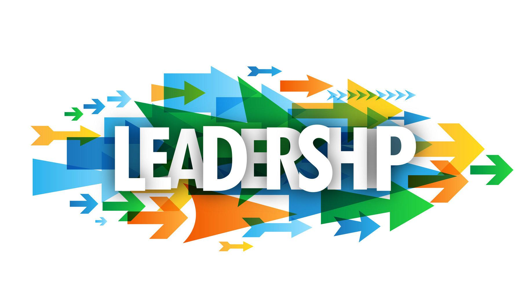 """LEADERSHIP"" overlapping vector letters icon with arrows background"