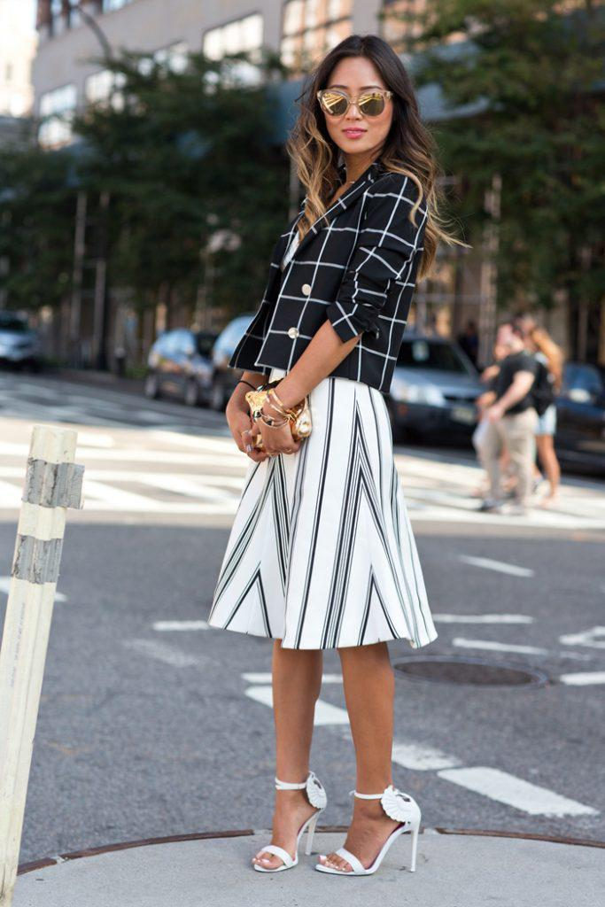 song-of-style-checked-blazer-stripe-skirt-wing-heels